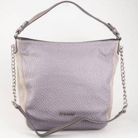 Дамска практична чанта с дълга и къса дръжка на френския производител David Jones в лилав  cm3026k