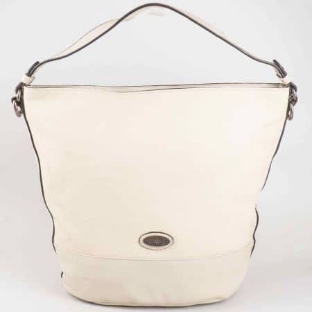 Дамска чанта David Jones в бежов цвят с къса и дълга дръжка cm3047bj