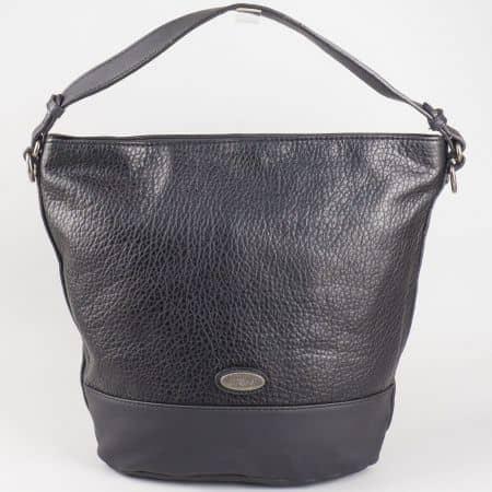 Черна дамска чанта тип торба David Jones със семпла визия и емблема cm3047ch