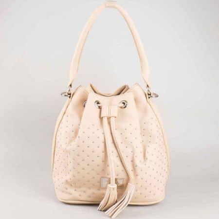 Атрактивна розова дамска чанта тип торба David Jones с къса и дълга дръжка cm3048rz