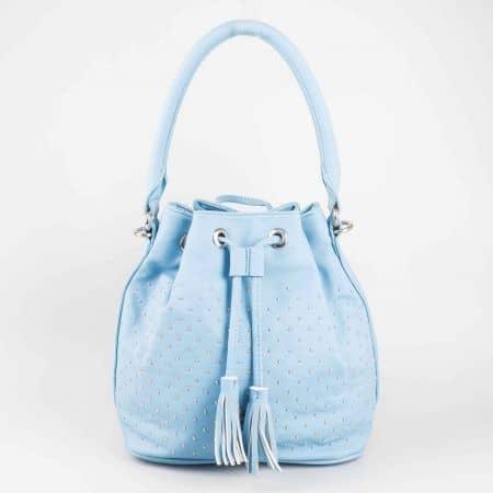 Синя дамска чанта David Jones от еко кожа с малки метални капси cm3048s