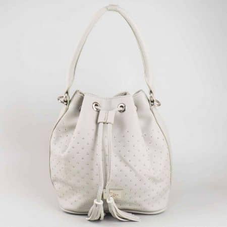 Модерна сива дамска чанта David Jones с интересна форма и връзки cm3048sv
