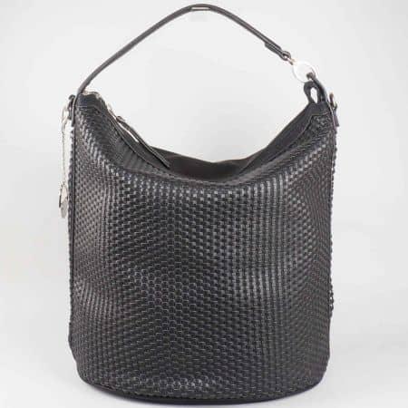 Модерна дамска чанта David Jones с къса и дълга дръжка в черен цвят cm3051ch