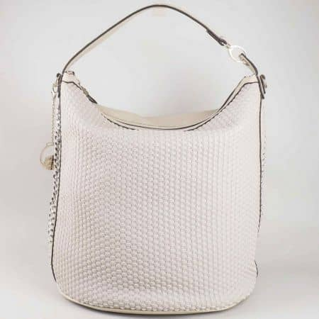 Изчистен модел сива дамска чанта David Jones с преплетени ленти отпред cm3051sv