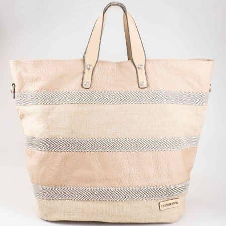 Атрактивна голяма дамска чанта David Jones в кафяв цвят cm3052k