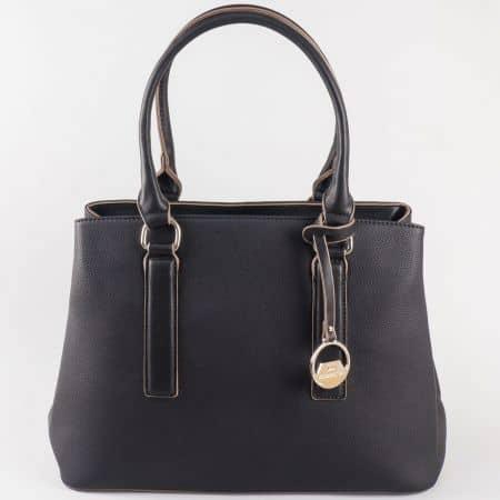 Дамска атрактивна чанта с две дръжки - дълга и къса на френския производител David Jones в черен цвят cm3066ch
