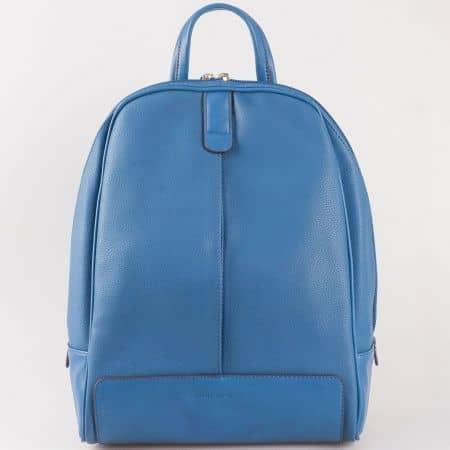 Дамска раница с младежка, атрактивна визия на френската марка David Jones в син цвят cm3067s