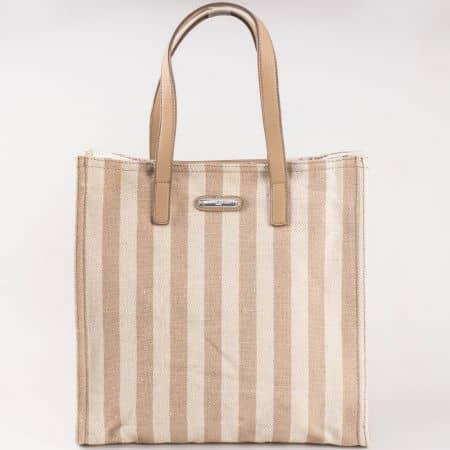 Дамска чанта за всеки ден с лятна свежа визия на френската марка David Jones в кафяво и бежово cm3089k