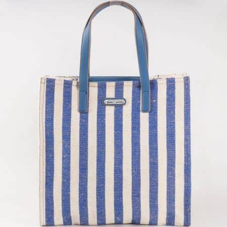 Дамска ленена чанта за всеки ден на райета на френския производител David Jones в син и бежов цвят cm3089s