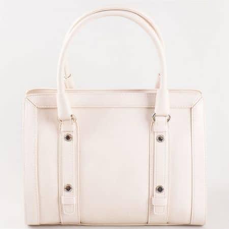 Дамска стилна чанта с две дръжки на френския производител David Jones в бежово cm3091bj