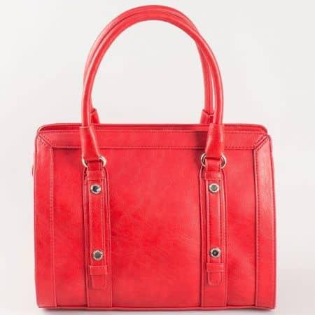 Дамска стилна чанта с две дръжки на френската марка David Jones в червен цвят cm3091chv