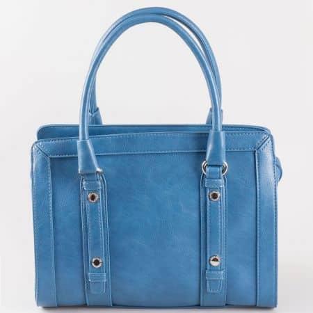 Актуална дамска чанта в син цвят с две къси и дълга дръжка- David Jones  cm3091s