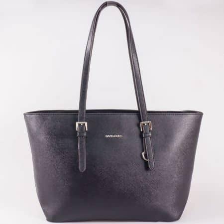 Дамска ежедневна чанта с къса дръжка и стилна визия на френския производител David Jones в черен цвят cm3093ch