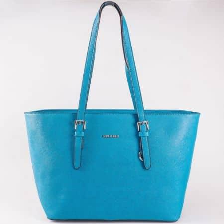Дамска стилна чанта със семпла визия на френската марка David Jones в син цвят cm3093s