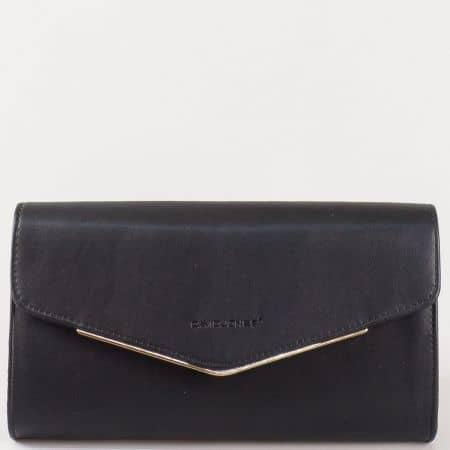 Дамска стилна чанта, тип клъч, с капак на френската марка David Jones в черен цвят cm3094ch