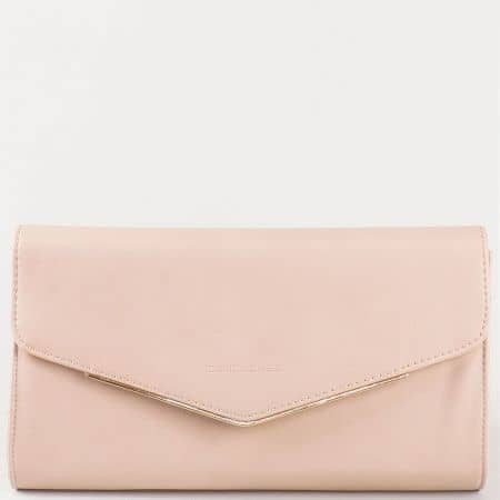 Дамска елегантна чанта, тип клъч, с преден капак на David Jones в розово cm3094rz