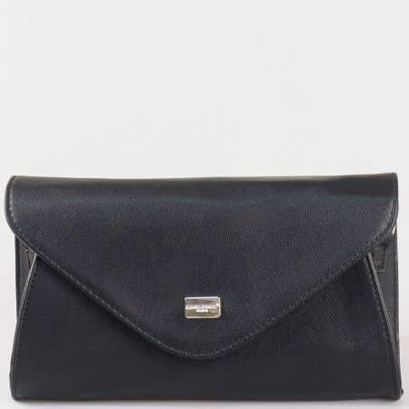 Дамска стилна чанта, тип клъч, с преден капак на френския производител David Jones в черен цвят cm3095ch