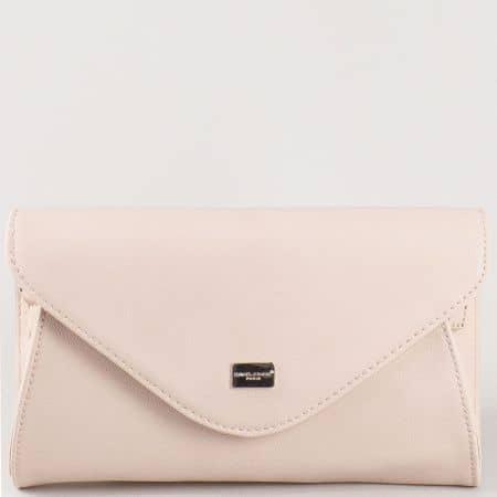 Дамска елегантна чанта, тип клъч, с дълга дръжка и капак на David Jones в розово cm3095rz