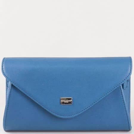 Дамска чанта- плик в син цвят с дръжка за китката и дълга дръжка- David Jones  cm3095s