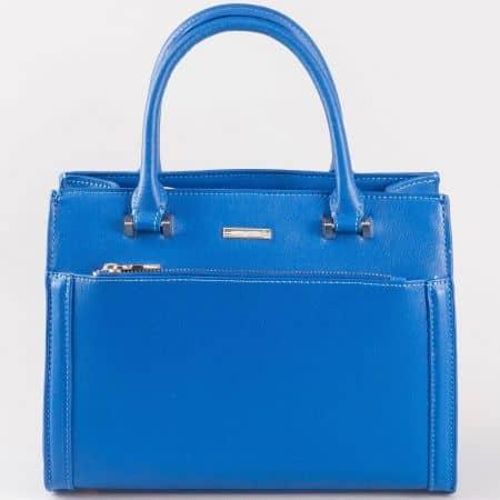 Дамска семпла чанта с атрактивна визия на френския производител David Jones в син цвят cm3097s