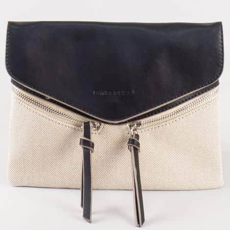 Дамска ежедневна чанта с атрактивна визия на френския производител David Jones в бежово и черно cm3111ch