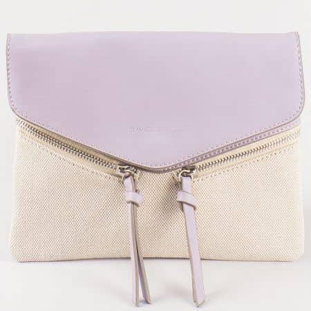 Дамска стилна чанта с актуална свежа визия на френския производител David Jones в лилаво и бежово cm3111l
