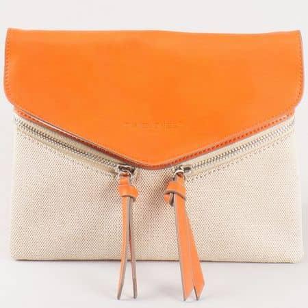 Дамска чанта за всеки ден с преден капак на френската марка David Jones в оранжево и бежово cm3111o