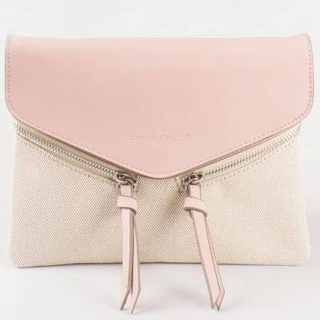 Дамска стилна чанта с младежка визия и дълга дръжка на френския производител David Jones в розов и бежов цвят cm3111rz
