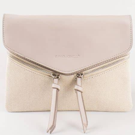 Дамска чанта за всеки ден в свежа цветова комбинация на френския производител David Jones в сиво и бежово cm3111sv