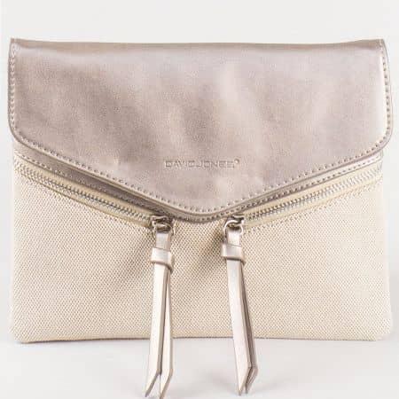 Дамска атрактивна чанта с дълга дръжка и практично разпределение на френския производител David Jones в златно и бежово cm3111zl