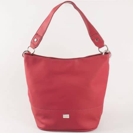 Дамска чанта в цвят бордо David Jones с къса и дълга дръжка cm3219bd