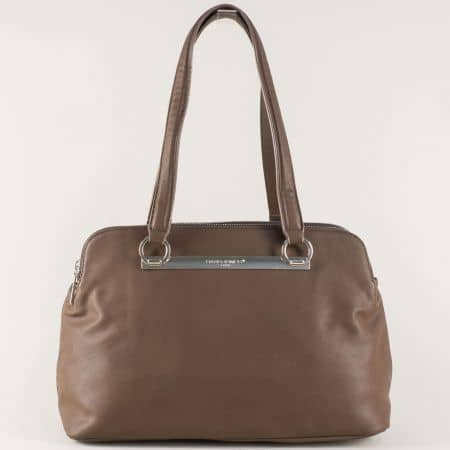 Тъмно кафява дамска чанта- френски производител cm3243kk