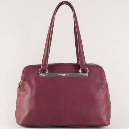 Френска дамска чанта в цвят бордо с две средни дръжки cm3243l