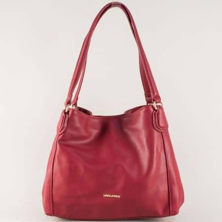 Френска дамска чанта с две средни дръжки в цвят бордо cm3255bd