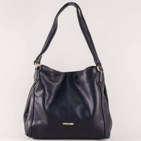 Дамска чанта с три отделения в черен цвят- David Jones  cm3255ch