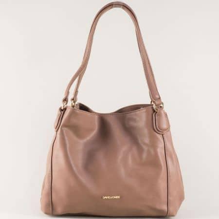 Кафява дамска чанта с три отделения- David Jones  cm3255k