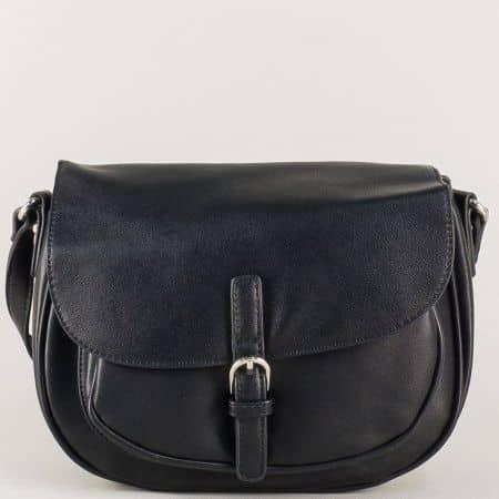 Френска дамска чанта в черен цвят с дълга дръжка cm3266ch