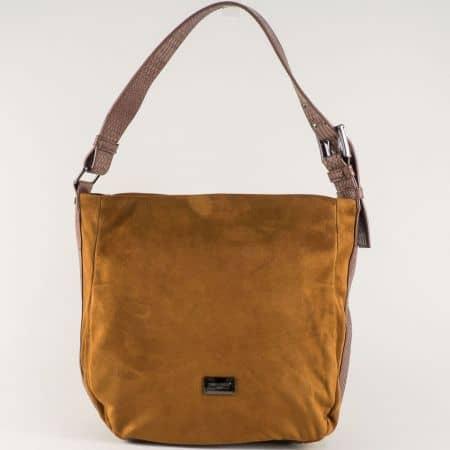 Кафява дамска чанта с удобна дръжка- David Jones  cm3267k