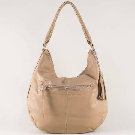 Бежова дамска чанта с пискюл, къса и дълга дръжка cm3270bj