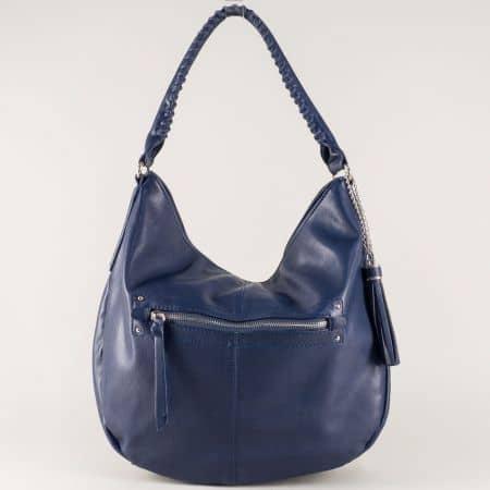 Синя дамска чанта с къса и дълга дръжка- David Jones  cm3270s