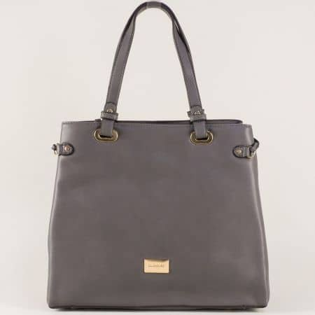 Френска дамска чанта в сиво с удобно разделение cm3272sv