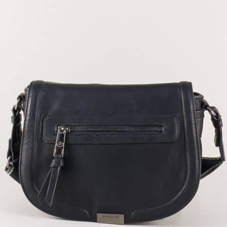 Дамска чанта с два външни джоба с цип в черен цвят cm3291ch