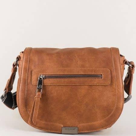 Кафява дамска чанта с дълга регулируема дръжка cm3291k