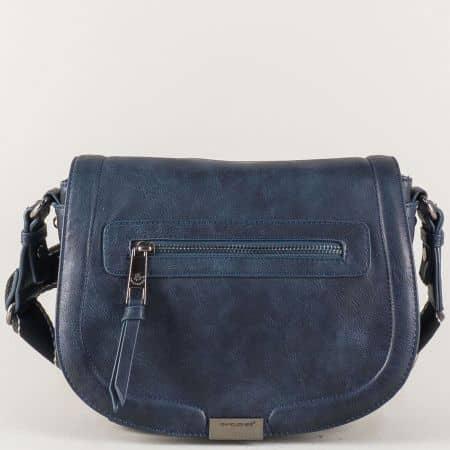 Синя дамска чанта с дълга дръжка- David Jones  cm3291s