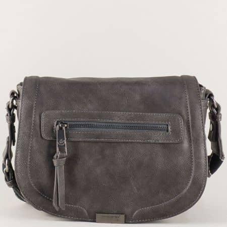 Дамска чанта с практично разпределение в сив цвят cm3291sv