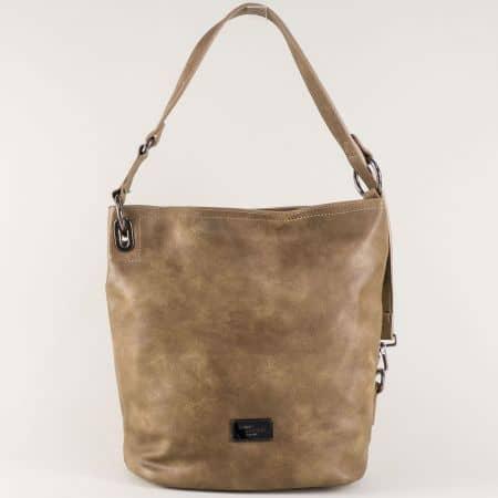 Бежова дамска чанта с практична дръжка- David Jones  cm3292bj