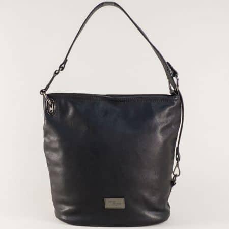 Френска дамска чанта в черен цвят с външен джоб с цип cm3292ch