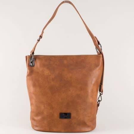 Кафява дамска чанта с външен джоб с цип- David Jones  cm3292k
