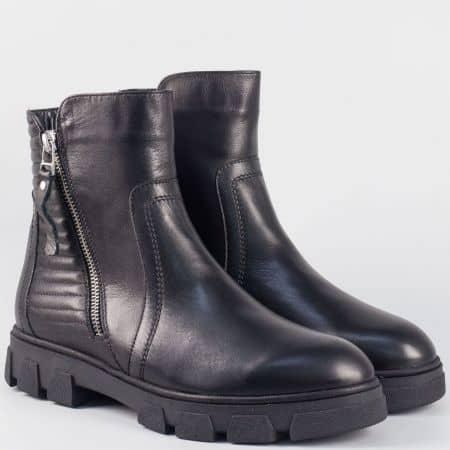 Дамски боти на платформа с цип- Nota Bene от черна естествена кожа dakota1022ch