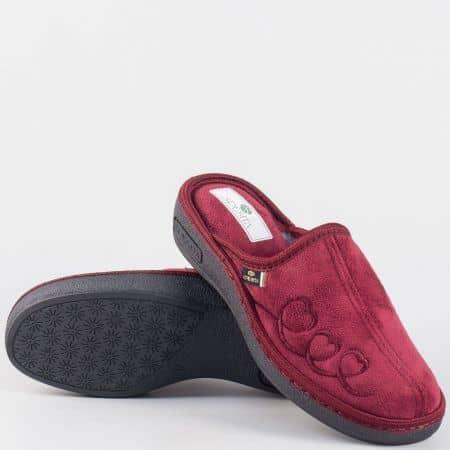 Български дамски пантофи на платформа- Spesita в цвят бордо danitabd